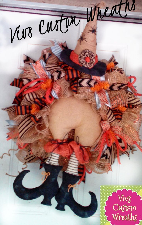 Halloween Burlap Witch Wreath, Primitive Burlap Witch With, Halloween Decor, Halloween  XL Witch Wreath, Halloween Decoration, Witch by VivsCustomWreaths on Etsy