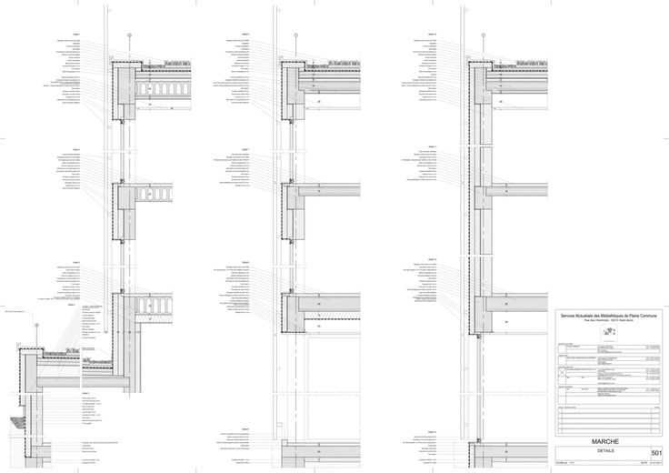 Antonini + Darmon Architectes - SMMPC - Details facades detail wandopbouw dakaansluiting doorsnede