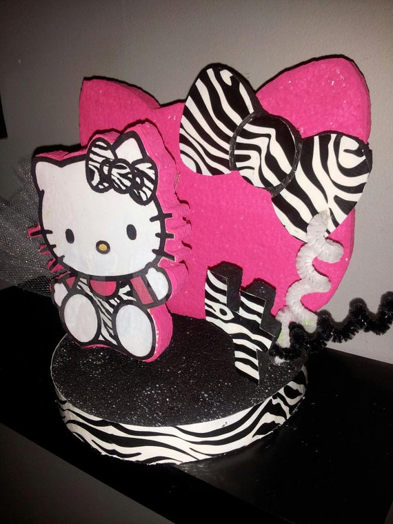 Hello Kitty Zebra Party Favor/ Cake Topper  Surprise Party Ideas ...