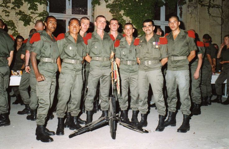Legionnaires after their 4 month of basic training at 4th RE at Castelnaudary, France
