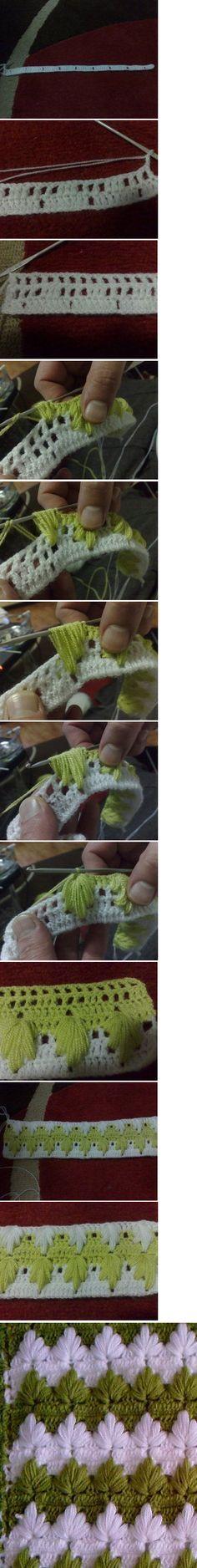 Omg. LOVE!  http://lifebabysapatinhos.blogspot.com/2011/12/passo-passo-ponto-maravilhoso-para.html <-- Instructions here.  Makes a shell-type afghan. #crochet #crochetstitch #shellstitch