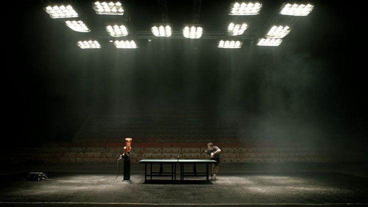 Man vs. Machine (Timo Boll vs. KUKA Agilus robot) ping-pong match for KUKA Robotics