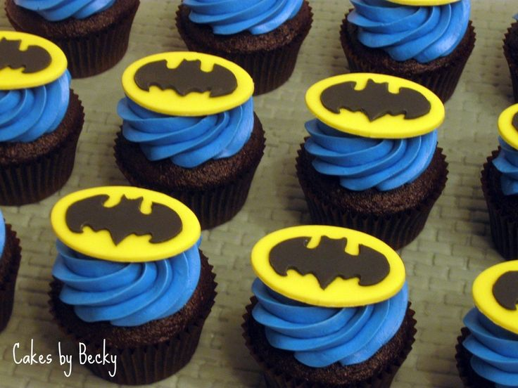 Chocolate espresso cupcakes with vanilla buttercream frosting and fondant toppers for my Nephew's Birthday - had to be Batman this year...