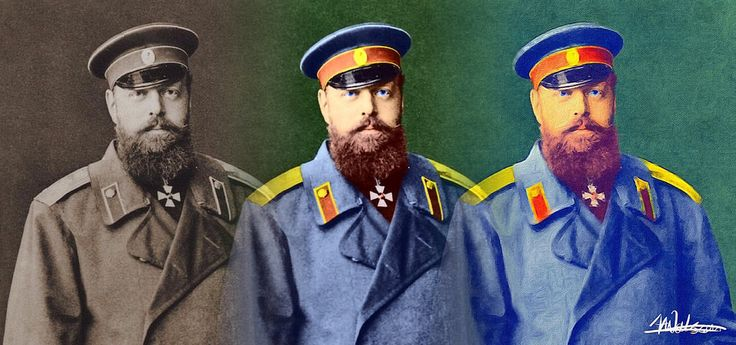 """https://flic.kr/p/CtBcKD   Alexander III of Russia   I love to find black and white photos, add colour and then use the brushstroke app on my phone to """"paint them"""". After all that I blend then together."""