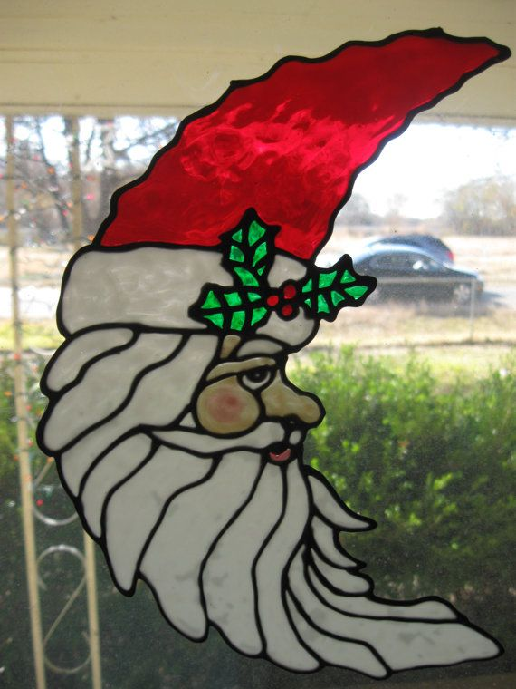 Cresect Santa with holly stained glass window Cling