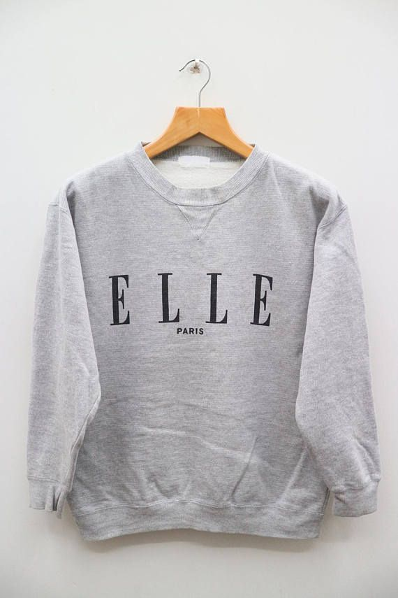 Vintage ELLE Paris Big Logo Designer Gray Sweater Sweatshirt