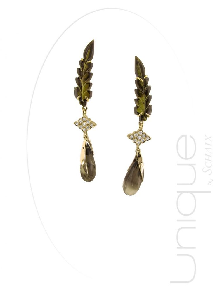 Get a seasonal look with these unique #tourmaline #quartz and #diamond leaf #earrings.