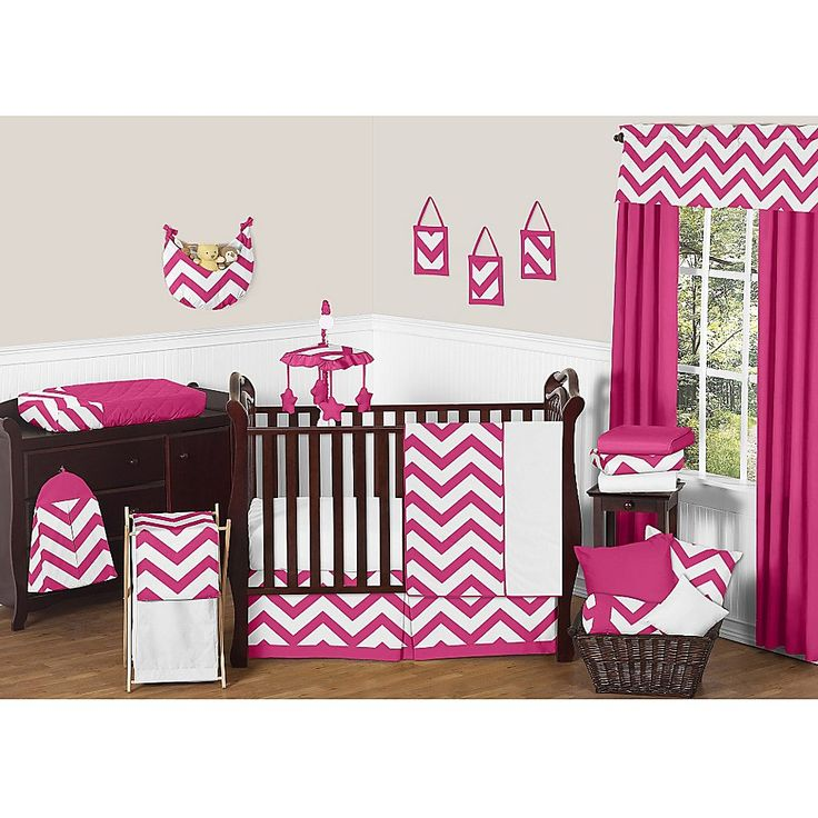 Sweet Jojo Designs Chevron Crib Bedding Collection in Pink and White