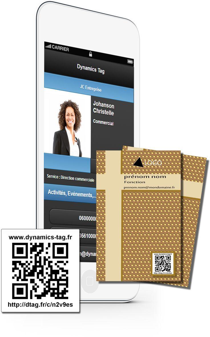 Cartes de visite papier associée à une carte de visite virtuelles via un qrcode : carte fond marron et bande en croix beige