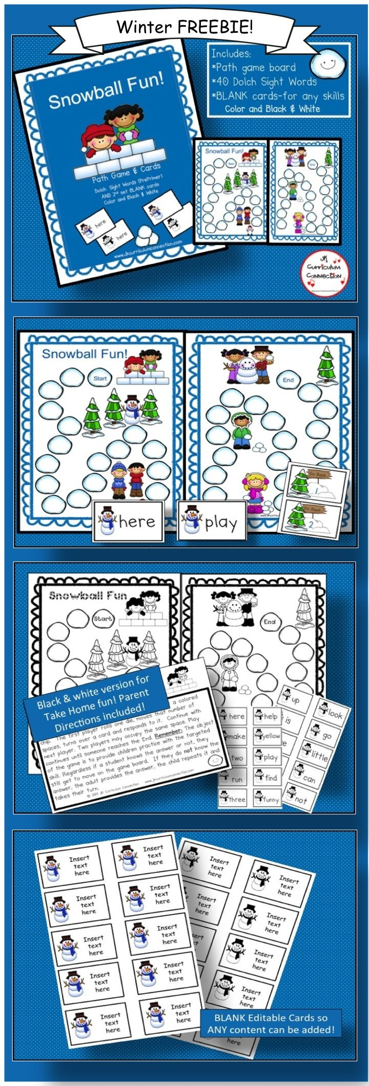 Snowball Fight Game FREEBIE! This file folder path game targets 40 Dolch words OR use the Editable cards to add ANY content that needs practice. It will fit right in with any of your Winter /Snow-themed Centers!  http://www.teacherspayteachers.com/Product/Snowball-Fun-Game-FREEBIE-1028784