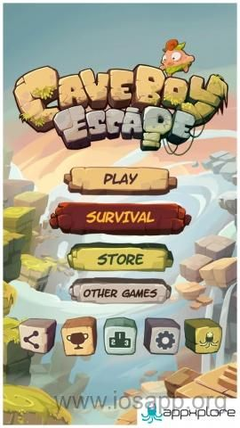 From the game Caveboy Escape. Really crisp images used for buttons. They stand out easily and stylistically all link together. Fantastic font used on the game title Nice use of icons.