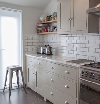 A little Saturday morning kitchen inspo. Love the white metro tiles with our Shaker cabinets painted in mushroom #deVOLKitchens