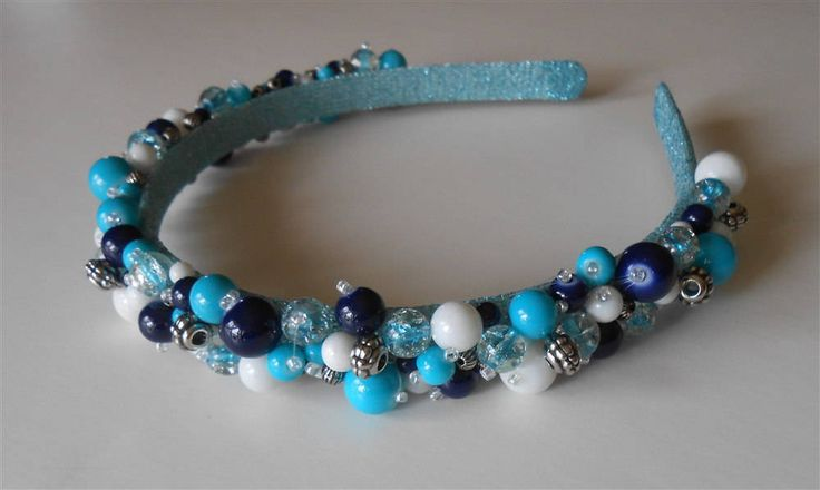 Beaded Headband Colorful Multi Color Blue Round Bead Headbands Headpiece, Hand Made Weddings Prom Sweet 16 Hair Accessories Party Headpieces by NeedleCraftNook on Etsy