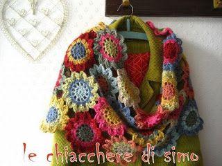 Le chiacchere di Simo... ricamo, maglia, uncinetto e cucito: sciarpa fiori uncinetto