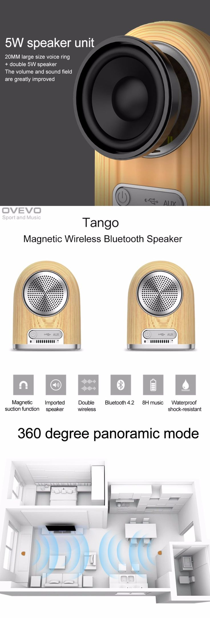 8 hours playtime supplies all-day music enjoyment; IPX5 waterproof, 1.5m high shock-resistant, dust-resistant, lightweight build makes it tough and durable.  Specifications: Model: Tango D10 Bluetooth version: 4.2 Support profiles: AVRCPV/A2DP V/ HFP V/ HSP V Wireless Range: up to 10m Battery: 2 * 3.7V 1000mAh lithium battery Playtime: About 8 hours (medium volume) Charging Time: About 2-3 hours Input: 5V Output power: 2.5W Color: Wood Grain Speaker Size: approx. 8.9 * 6.75 * 6.4cm / 3.50…