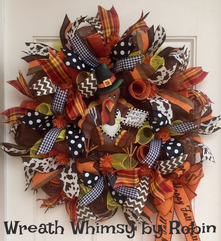 deco mesh thanksgiving wreath with pilgrim turkey fall wreath autumn wreath front door wreath