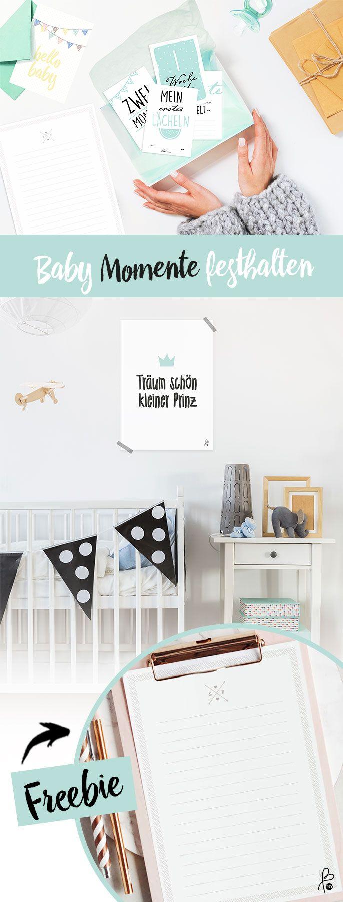 Baby Momente festhelten: Archiviere deine Erinnerungen mit diesem tollen Baby Set: Meilensteinkarten, Poster, Muster etc. …