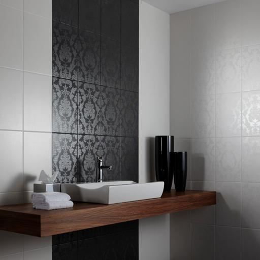 Inspiration from Bathrooms.com: Use tiles to create pattern. A block of colour like this can make a low ceilinged room feel taller, while the subtle pattern adds interest. #bathroom #tiles #wetrooms #designideas