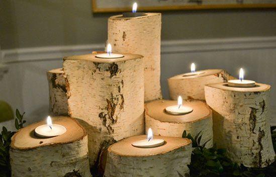 automne, bougeoir, bûche, décoration, DIY, éclairer, esprit, fabriquer, idée, nature