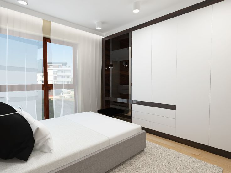 The project elegant and minimalist bedroom.  Apartment 64m2 . Warsaw Poland. www.artandarchitecture.pl