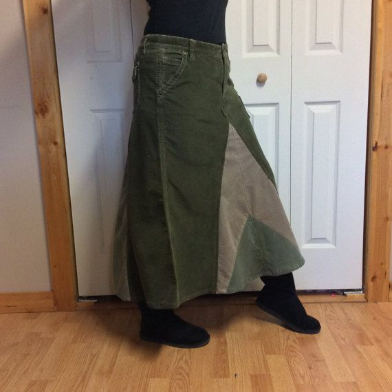 Jupe longue en velours côtelé vert Jupe velours côtelé/Stretch