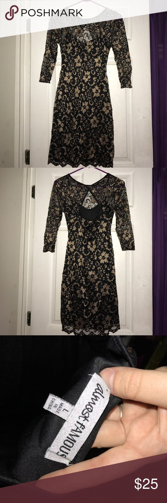 Almost Famous Lace Dress Almost Famous Black & Gold Lace Dress! Worn Once! Size Large for Juniors! Almost Famous Dresses