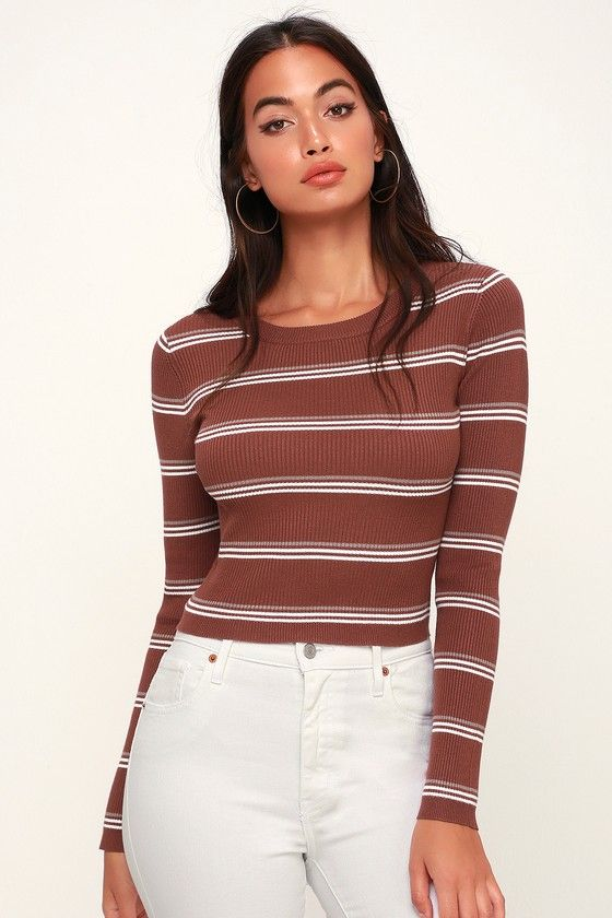 63abc2aefcc Daphnie Rust Brown Striped Cropped Sweater Top | Clothes | Cropped sweater,  Tops, Sweaters