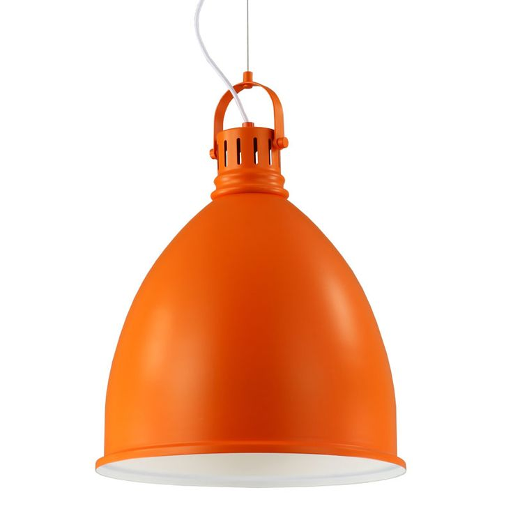 Theo Orange Pendant | This down-facing pendant light features an aluminium shade and metal body. It is orange and white and hangs at a length of 96cm.  Buy now: http://lighting.co.za/ceiling/theo-pendant/