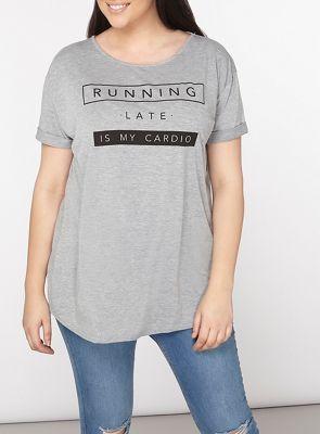 Dorothy Perkins Curve grey 'running is my cardio' motif jersey t-shirt | Debenhams
