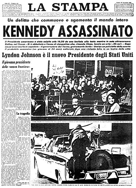 La Stampa, 23 novembre 1963 dopo l'uccisione di John Fitzgerald Kennedy a Dallas #jfk #assassination