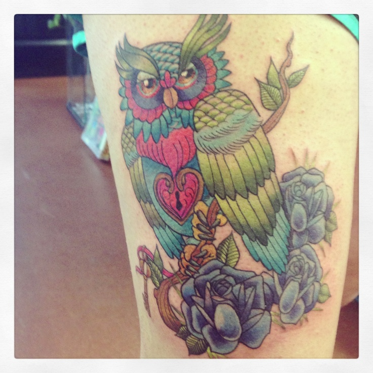 My thigh tattoo. Custom owl.: Owl Tattoo'S, Tattoo'S Idea, Mod Tattoo'S, Tattoo'S Inspiration, Dream Tattoo'S, Color Tattoo'S, Tattoo'S Piercings, Thighs Tattoo'S