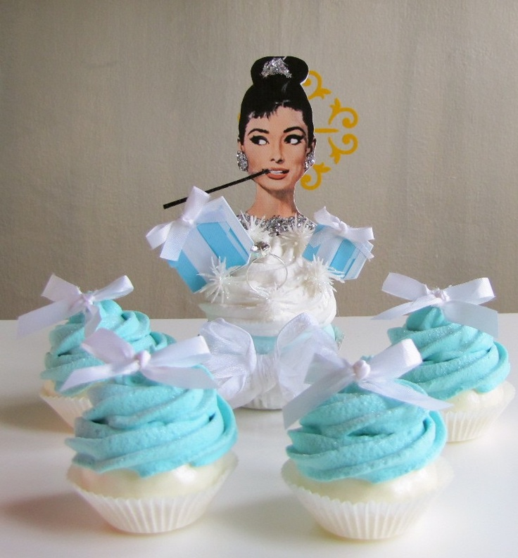 Fake Cupcake One (1) Breakfast At Tiffanys Insp Cupcake Audrey Hepburn Tribute 12 Legs Classic Movie Cupcake Collection 12 Legs Concept. $16.95, via Etsy.