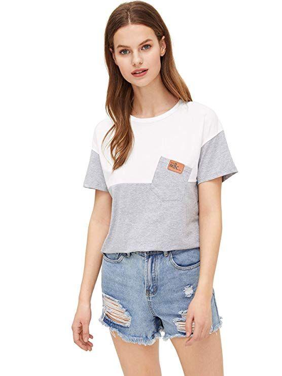 72943b2aa1e SweatyRocks Women's Colorblock Summer Short Sleeve Casual Loose T-Shirt  Crop Top at Amazon Women's