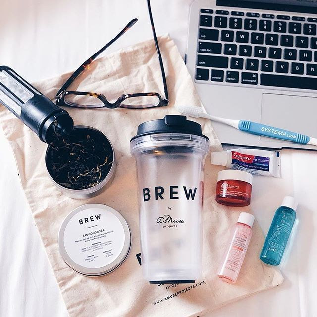 Morning essential companions when we travel. Nothing more nothing less. Oral hygiene: Minature travel Colgate toothpaste and Systema toothbrush. Facial essentials: Avene Cleanser  Gentle toning lotion and Origins Ginzing. BREW Tumbler and our wine-inspired Sauvignon tea (Green tea base) to start the day.       #amuseprojects #brewbyamuseprojects #brewbyamuse #tea #sgtea #teageek #instatea #teastagram #teagram #teaaddict #teaholic #sg #sgig #supportlocal #teatime #tealife #tealover…