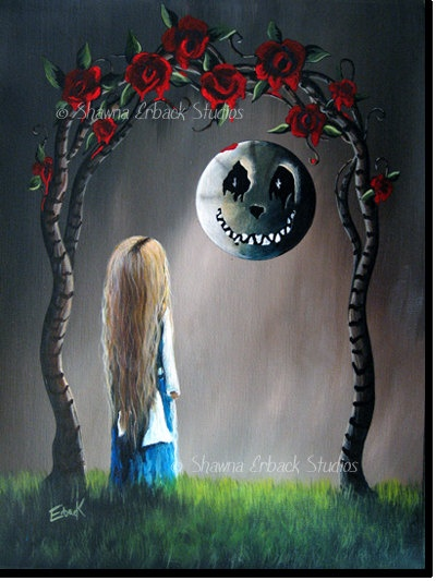 Alice In Wonderland FANTASY ART PRINT gothic Cheshire Cat Moon Red Roses 8x10 Fairy Tale Art Whimsy. $20.00, via Etsy.