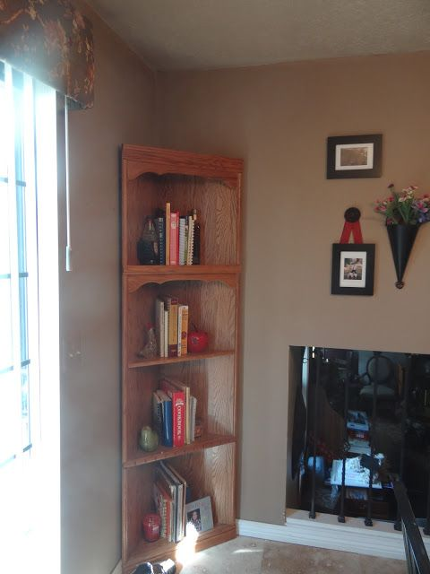 Cookbook Storage Ideas. I repurposed this corner shelf into my new Kitchen Cookbook shelf!