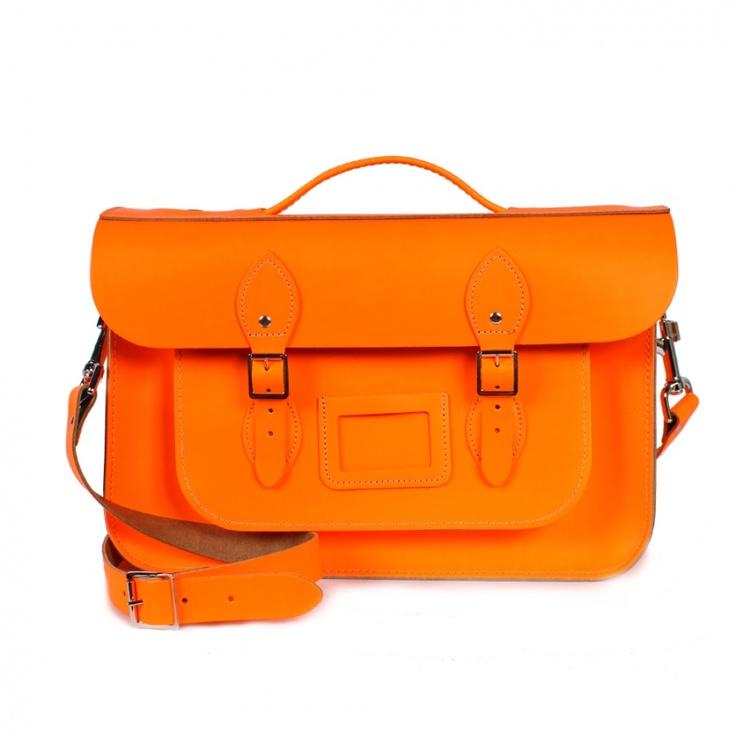 Neon orange leather satchel, from Bohemia.: Leather Satchel, Leather Briefcases, Colors Satchel, Briefca Satchel, Orange Briefca, Neon Orange, Leather Bags, Bohemia Leather, Bright Colors