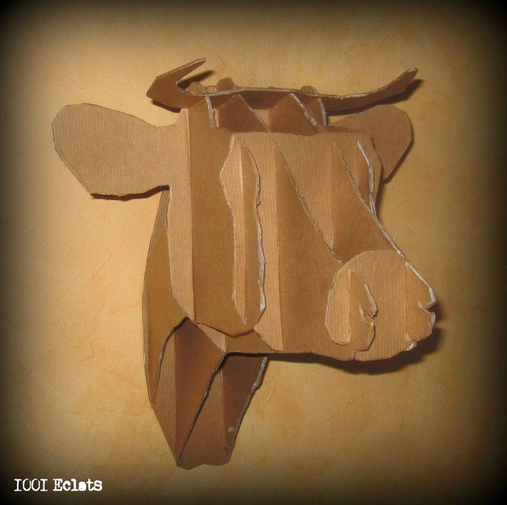 Tuto et patron de la vache en carton