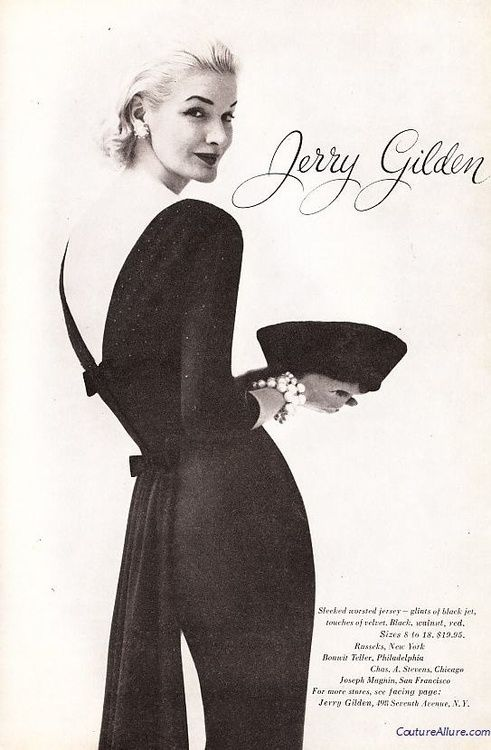 Sunny Harnett in cocktail wear for Jerry Gilden,1956.