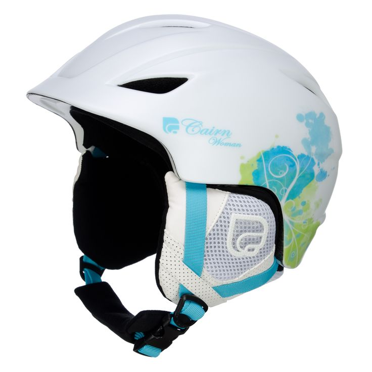Cairn Pegasus ski helmet, mat white/ water Cool ski helmet with print Ski helmet built with In-mold technique. This makes the helmet light weight ( 470g) and strong. The helmet has full and adjustable ventilation for an optimal climate around your head.   The lining is removable, as well as the earpads are. The lining is washable and hypoallergenic. You are ready to hit the slopes with this ski helmet!