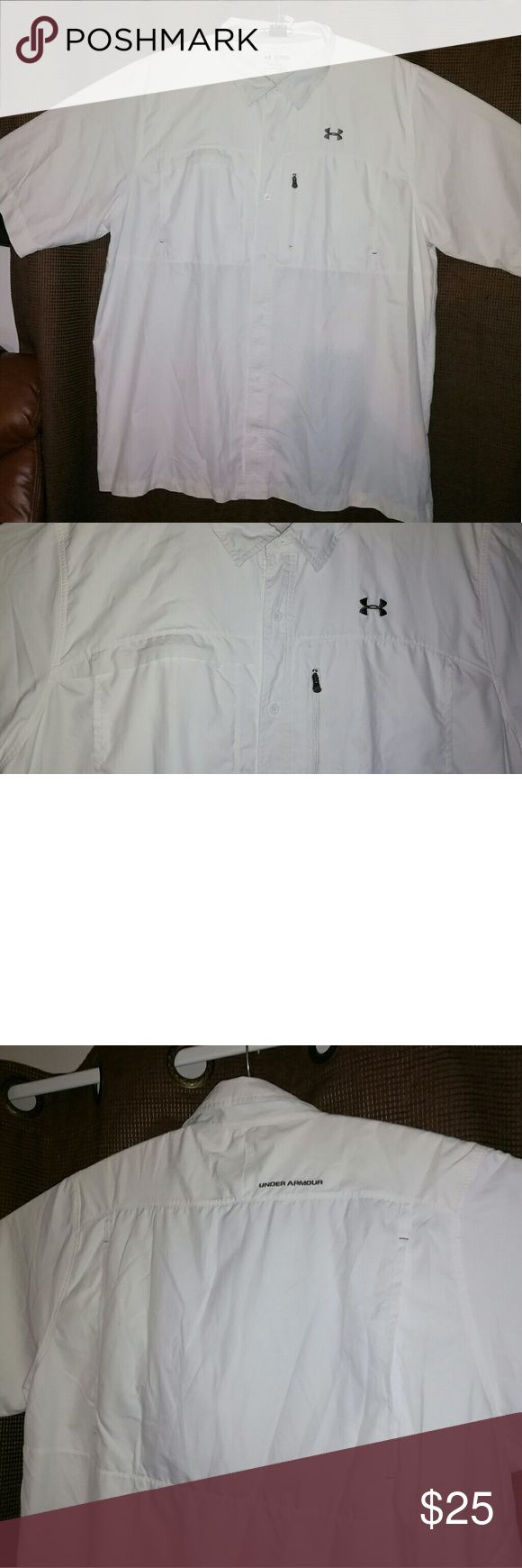 3xl-Under Armour Men's Short Sleeve Fishing Shirt White gray logos. Favorite shirt.Used but loved. Like new. Feels great in a breezy day. No rips or stains. ?All offers will be considered. Please post any questions or comments.Will reply asap. Under Armour Shirts Casual Button Down Shirts