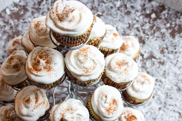 Skinny Eggnog Cupcakes   23 Healthier Versions Of Your Favorite Holiday Treats
