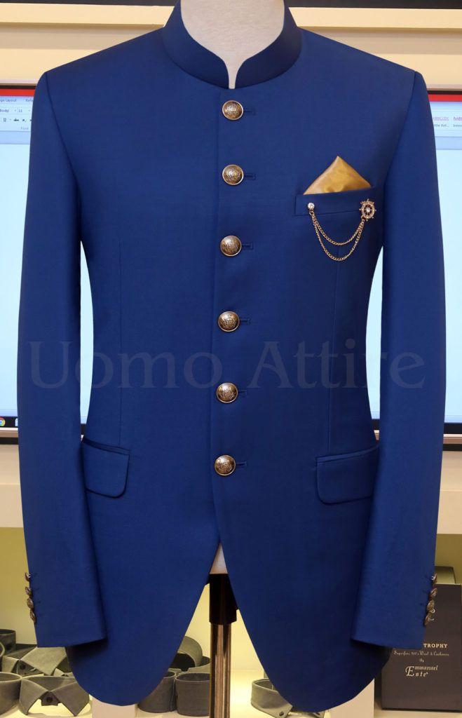 Royal Mens Black Nehru Grandad Collar Suit Ideal For Wedding 40 Jacket 34 Trouser, Navy Blue