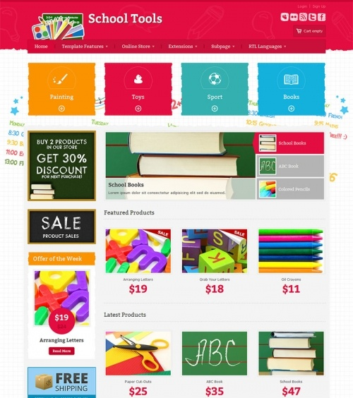 JM-School-Tools-Store - pink version, VirtueMart - free ecommerce solution