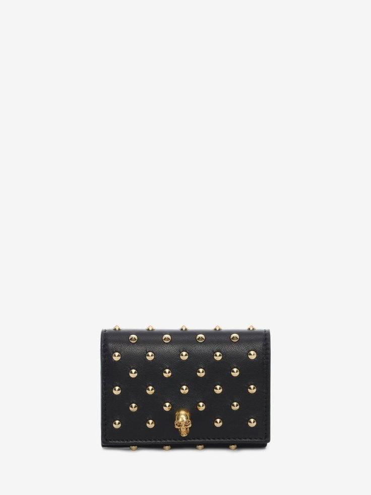 Nappa Leather Studded Fold Over Card Wallet