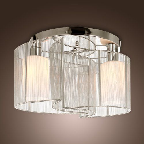 LightInTheBox 2 Light Semi Flush Mount Ceiling Fixture With Fabric Shade And Cloth Cover Chrome Mini Style Chandeliers For Hallway