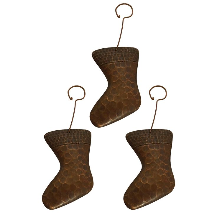 Premier Copper Products Christmas Stocking Hand-hammered Copper Ornaments