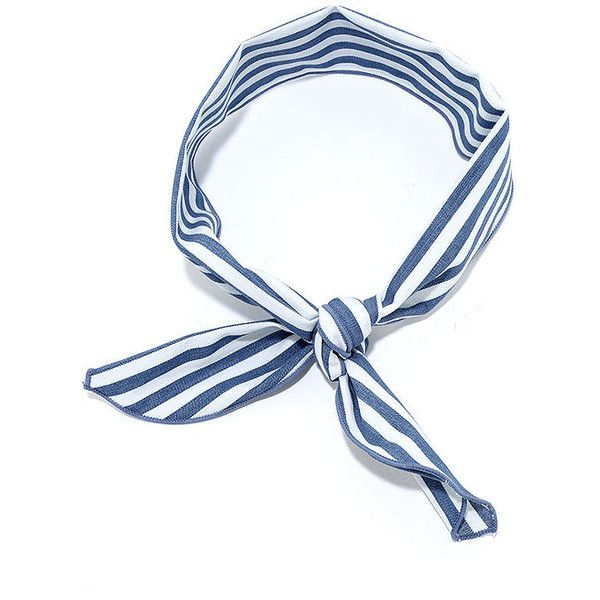 Sailing at Sunrise Blue and White Striped Bandana ($12) ❤ liked on Polyvore featuring accessories, scarves, blue, blue shawl, blue handkerchief, blue and white scarves, bandana scarves and long shawl