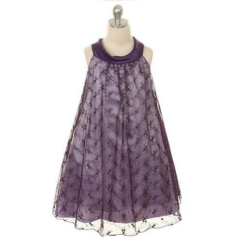 Kids Dream Eggplant Embroidered Mesh Christmas Dress Little Girls 4 Kids Dream