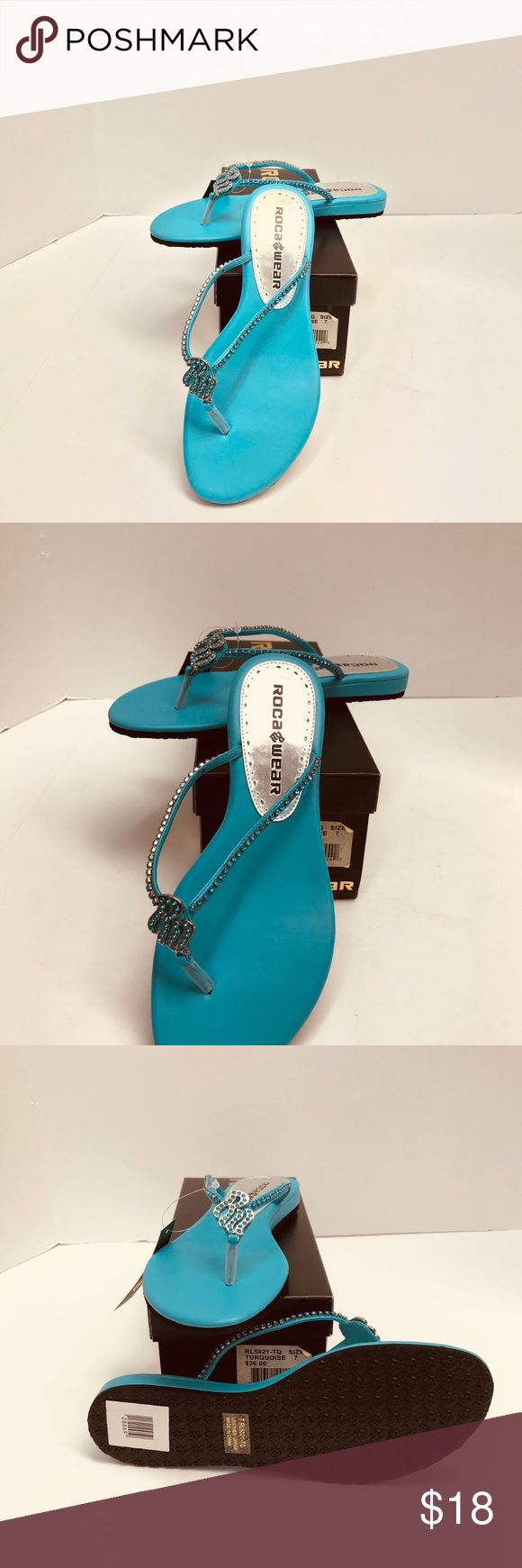 Ladies RocaWear Sandals Turquoise Size 7 Turquoise Sandals by RocaWear Size 7 with Rhinestones Rocawear Shoes Sandals